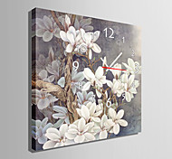 estilo moderno reloj de pared gris floral en lona
