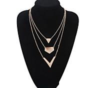 European Style Fashion Glossy Multilayer V-shaped Pendant Necklace