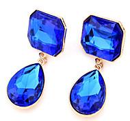 Stud Earrings Drop Earrings Gemstone Cubic Zirconia Alloy Fashion Drop Purple Screen Color Dark Green Jewelry 2pcs