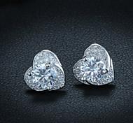S925 Sterling Silver Earrings Heart-shaped Earrings Korean Genuine Hypoallergenic Fashion Earring Pendant Matching