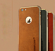 For iPhone 6 Case / iPhone 6 Plus Case Plating Case Back Cover Case Solid Color Hard Genuine Leather iPhone 6s Plus/6 Plus / iPhone 6s/6