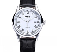 Men's Watch Business Fashion Big Dial Calendar Waterproof Leather Quartz Watch