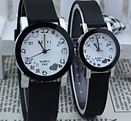 Couple's Square Dial Black Rubber Band Quartz Wrist Watch Cool Watches Unique Watches