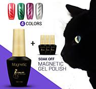 azul 4pcs / lot magnética olhos de gato 3d gel unha gel magnético unha polonês mergulhar off uv unhas de gel de arte (# 59 + 60 + # # # 61