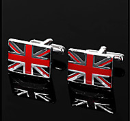 Men's Union Jack British National Flag Enamel Blue Silver Cufflinks