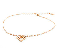 Fashion Rose Gold Diamond Shape Titanium Steel Anklet