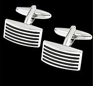 Men's Parallel Stripes Blk Silver Wedding Suit Shirt Men's Cufflinks