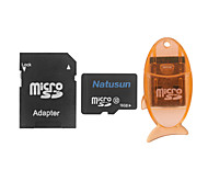 Natusun 16GB Class 10 MicroSDHC TF Memory Card with USB Card Reader and SDHC SD Adapter