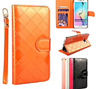 New Style Gird Pattern PU The wallet style for Samsung Galaxy S6/Galaxy S6 Edge Assorted Color