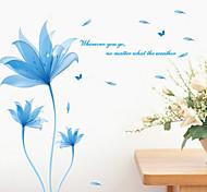 Fancy Blue Flowers PVC Wall Sticker Wall Decals