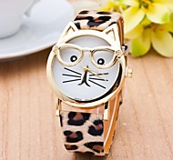 Cat Watch With Glasses Women Quartz Watches Reloj Mujer Relogio Feminino Leather Strap Watch Cool Watches Unique Watches Fashion Watch