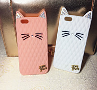 New Diamond Cat Ears Cute Cat Silica Gel Shell for iPhone 6/6S(Assorted Colors)