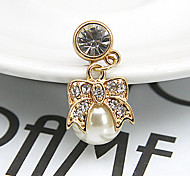 Bowknot Pearl Zircon 3.5mm Dustproof Plug for iPhone Sumsung