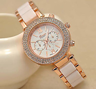 Women's Fashion Geneva Quartz Watch Sparkle Crystal Case Gold Steel Strap