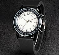 dos homens v6 moda preto silicone alça de quartzo relógio ocasional