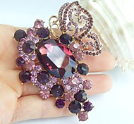 2.95 Inch Gold-tone Purple Rhinestone Crystal Butterfly Flower Brooch Pendant Art Decorations