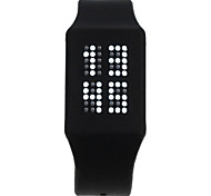 Fashion Movement Touch Digital Watch  White LED Light Silicone Watch Band - Black