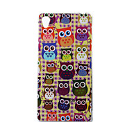 Yellow Background Owls Pattern TPU Soft Case for Sony Xperia Z3