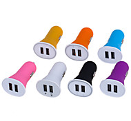 Candy Color 2.1A Double Port USB Universal Quick Car Charger Adapter (12-24V)(Assorted Colors)