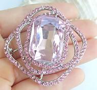 1.97 Inch Silver-tone Pink Rhinestone Crystal Brooch Pendant Art Decorations
