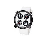Montre double fuseau horaire bracelet en caoutchouc du disque de décoration numérique de la zone de quartz des hommes (couleurs assorties)