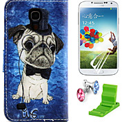 teste padrão do cão caso pu couro com protetor de tela e ficar de pé e plugue poeira para Samsung i9190 S4 mini-