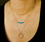 Fine Turquoise Delicate Layering Necklaces,Layering Necklaces,Bar Necklace,Gold Necklace Ring Clavicle Necklace