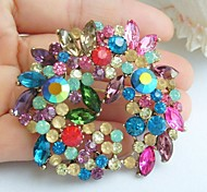 2.17 Inch Gold-tone Multicolor Rhinestone Crystal Flower Brooch Pendant Art Decorations