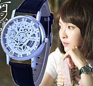 Women's Fashion And Casual PU Leather Strap Sliver Dial hollow quartz watch