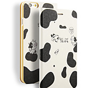 Love To Drink Milk Cow Pattern PU Leather Full Body Wallet And Stand for iPhone 6