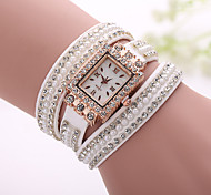 Xu™ Women's Korea Velvet Diamonds Rivet Winding Bracelet Quartz Watch Cool Watches Unique Watches Fashion Watch