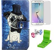 teste padrão do cão caso pu couro com protetor de tela e ficar de pé e plugue poeira para Samsung Galaxy S6