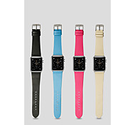 JISONCASE High-Grade Leather Classic Strap And Connectors Suits for Apple Watch 38MM/42MM