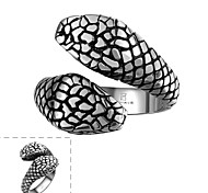 Maya Classical Individual Delicate Simple Double Snake Heads Stainless Steel Man Ring(Black)(1Pcs)