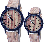 Couple's Watch Vintage Wooden Surface Quartz PU Band Cool Watches Unique Watches Fashion Watch