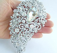 Wedding 4.72 Inch Silver-tone Clear Rhinestone Crystal Flower Brooch Pendant Bridal Bouquet