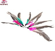 FUN OF PETS® 5 Pieces A Packed  Birds  Feather Pet Cats Playing Stick Teasers Cat Feather Toy Feathers Replace Head