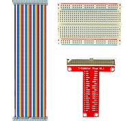 frambuesa tipo pastel de b extensión GPIO kit de bricolaje (cable 40p arco iris + GPIO placa adaptadora + tarjeta de pan)