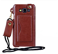 Pu Leather Card Slot Hang Rope Hanging Around His Neck cell Phone Holster For Galaxy A8/A7/A5/A3(Assorted color)