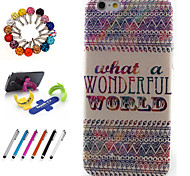 Good Quality TPU Coloured Drawing or Patter Novelty with Touch Screen Pen Dustproof Plug and Stents for iPhone 6