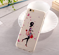 Butterfly Girl Pattern TPU Soft Case for iphone 6