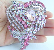 Wedding 3.15 Inch Silver-tone Pink Rhinestone Crystal Love Heart Brooch Pendant