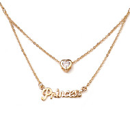 HKTC Elegant Bridal Jewelry 18k Rose Gold Plated with Cz Stone 2 Layer Chains Princess Letter Necklace