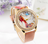 women's new fashion pu leather punk Watch Butterfly and high heels pattern freeshipping
