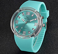 Men's Sporty Design Flashing Light Silicone Band Quartz Wrist Watch