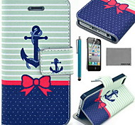 COCO FUN® Butterfly Boat Pattern PU Leather Case with Screen Protector and USB Cable and Stylus for iPhone 4/4S