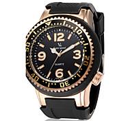 V6 Men's Fashion Round Case Silicone Strap Military Casual Watch