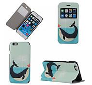 padrão de golfinho caso de telefone janela de couro pu para iphone 6