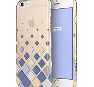 ESR® Beat Series Scratch-Resistant Perfect Fit Clear Hard Back Case with Blue Blocks Checkers Pattern for iPhone 6