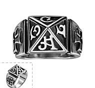 классический щедрый и не использует декоративный камень мужской романский крест символ кольцо из нержавеющей стали (черный) (1шт)